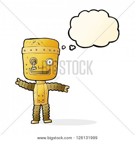 cartoon funny gold robot with thought bubble