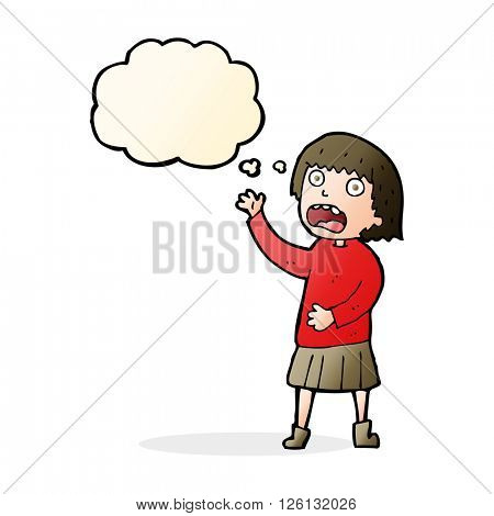 cartoon stressed out woman with thought bubble