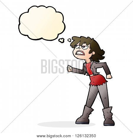 cartoon angry biker girl with thought bubble