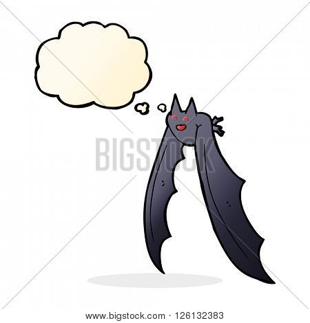 cartoon flying bat with thought bubble