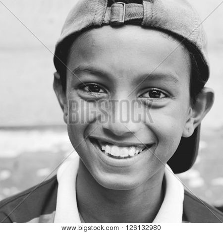 Smiling Child Cap Portrait Young Youth Cheerful Concept
