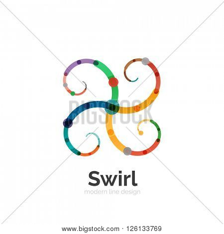 Vector swirl circle logo, linear flat design