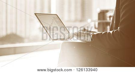 Businesswoman Connection Laptop Device Working Concept