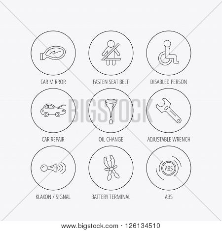 Car mirror repair, oil change and wrench tool icons. ABS, klaxon signal and fasten seat belt linear signs. Disabled person icons. Linear colored in circle edge icons.