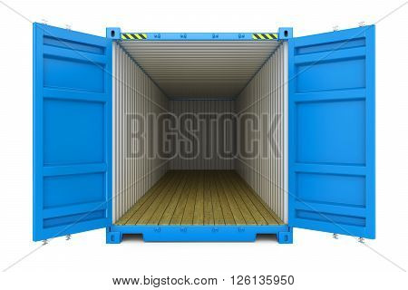 Blue cargo container with open doors isolated on white background 3d