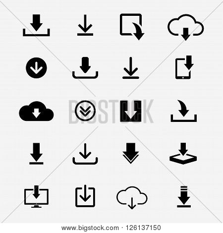 Download icons vector set. Icons download files for web site or application. Black download icons collection. Various download icon isolated from the background. Download icons in flat style.
