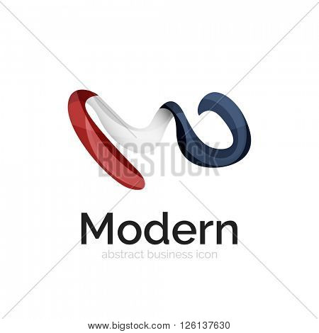 Wave ribbon logo, vector abstract business icon isolated on white