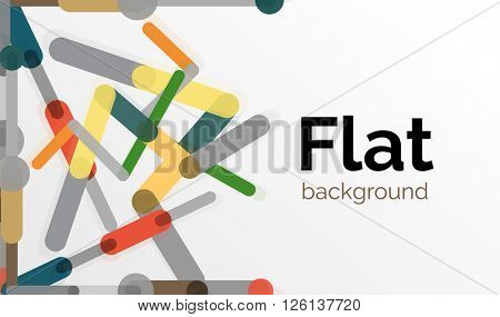 Abstract geometric background. Colorful line composition on white. Flat design