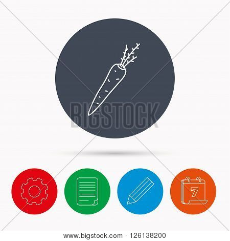 Carrot icon. Vegetarian food sign. Natural vegetable symbol. Calendar, cogwheel, document file and pencil icons.