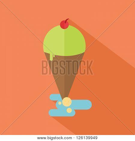 Ice cream cone with cherry flat design
