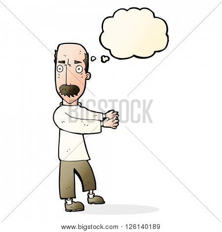 cartoon balding man explaining with thought bubble