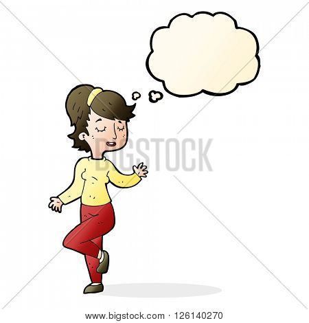 cartoon dancing woman with thought bubble