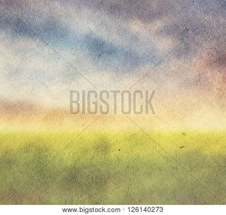 old illustration, fields and sky