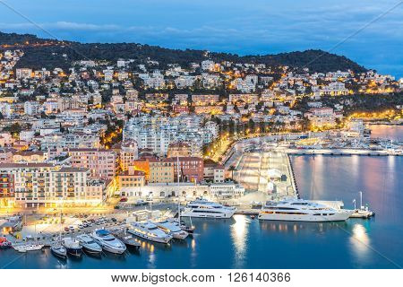 France Nice Cote d'Azur with mediterranean beach sea at dusk