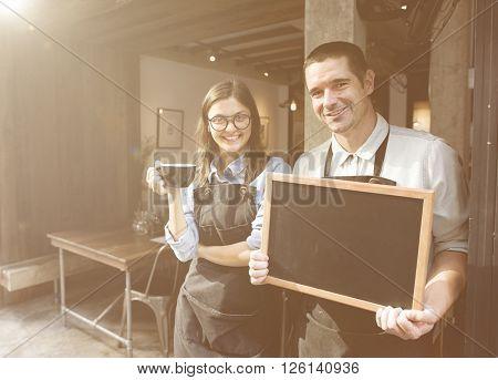 Barista Staff Working Coffee Shop Blackboard Concept