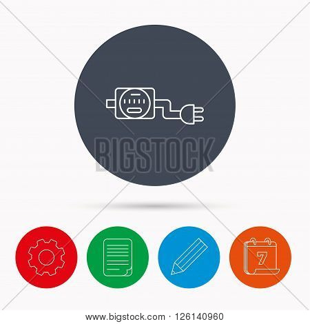 Electric counter icon. Electricity with plug sign. Calendar, cogwheel, document file and pencil icons.