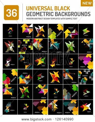 Mega collection of black geometric shape compositions. Abstract backgrounds