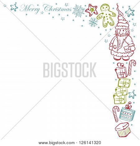 Santa Claus tendril with gift, cookies, candy and stars.