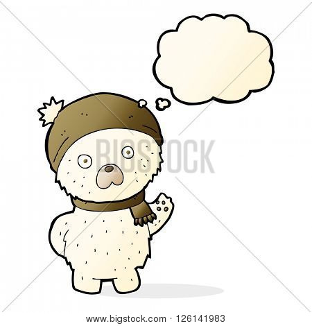 cartoon cute polar bear in winter hat and scarf with thought bubble