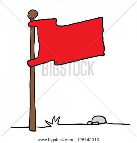 flag on a pole cartoon illustration