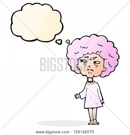 cartoon old lady with thought bubble