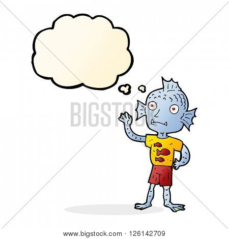 cartoon waving fish boy with thought bubble