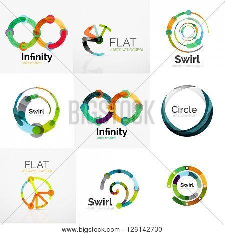 Collection of abstract circle logos. Minimal thin line flat design