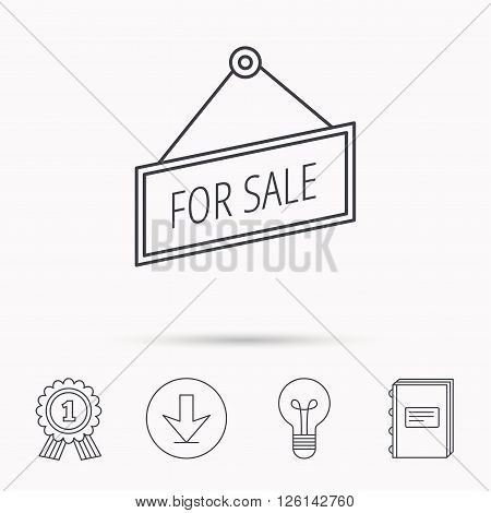 For sale icon. Advertising banner tag sign. Download arrow, lamp, learn book and award medal icons.