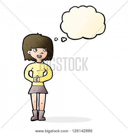cartoon friendly woman with thought bubble