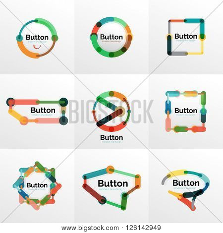Thin line design geometric button set, flat style. Overlapping muticolored elements. Vector illustration