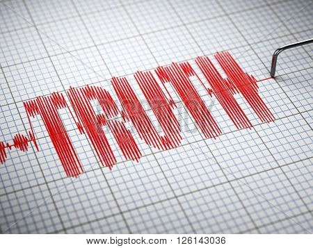Truth concept.  Closeup of a polygraph lie detector with text. 3d illustration