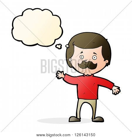 cartoon dad waving with thought bubble