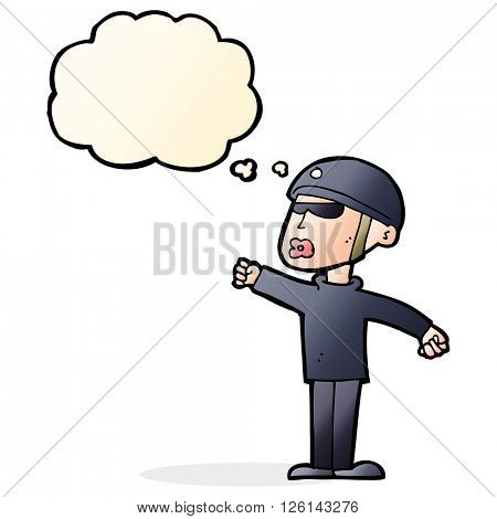 cartoon security guy with thought bubble