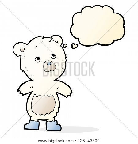 cartoon cute little bear with thought bubble