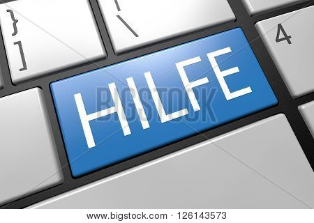 Hilfe - german word for help - keyboard 3d render illustration with word on blue key