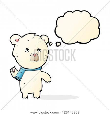 cartoon cute polar bear with thought bubble