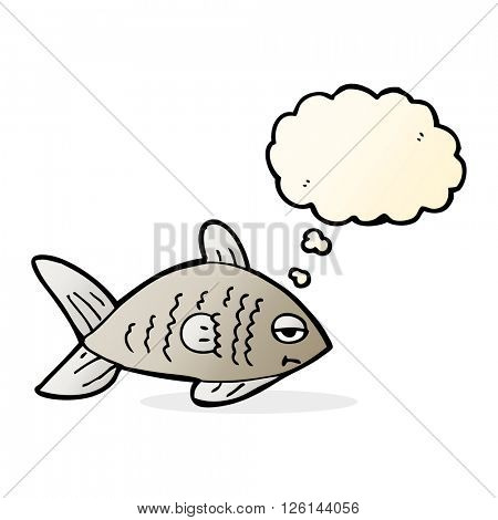 cartoon funny fish with thought bubble