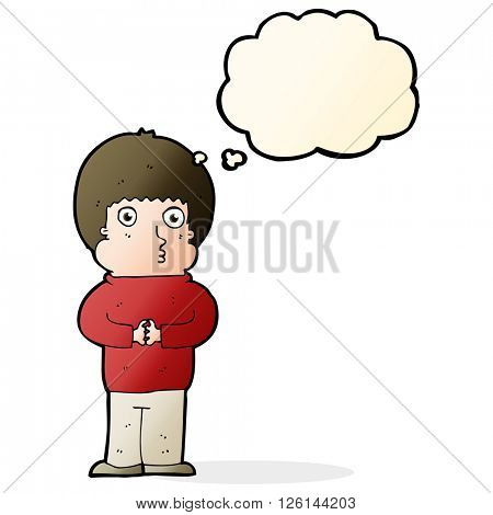cartoon shy boy with thought bubble