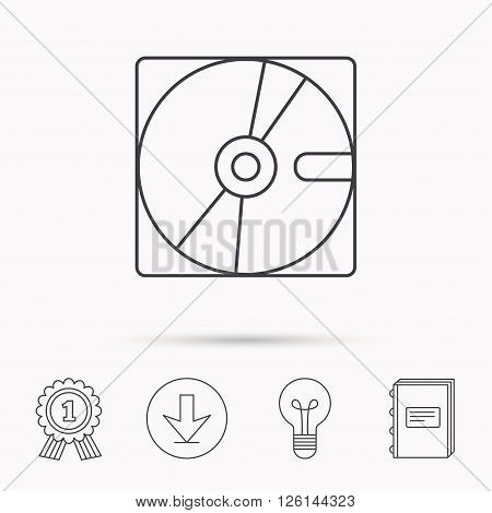Harddisk icon. Hard drive storage sign. Download arrow, lamp, learn book and award medal icons.