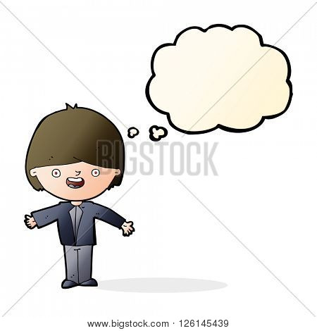 cartoon happy boy with open arms with thought bubble