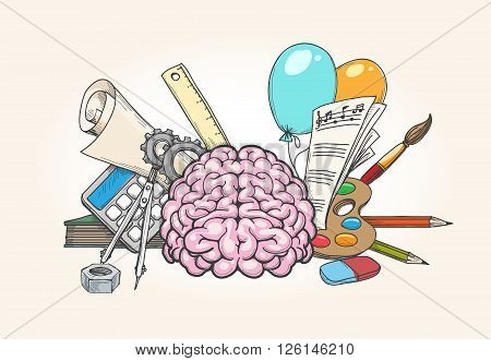 Left and right brain concept. Human brain creativity and analytical skills hand drawn vector illustration
