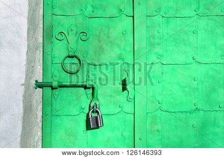Closeup of iron bright green door with rivets plates and worn metal door handle in the form of stylized lily. Architectural metal background with decorative elements.