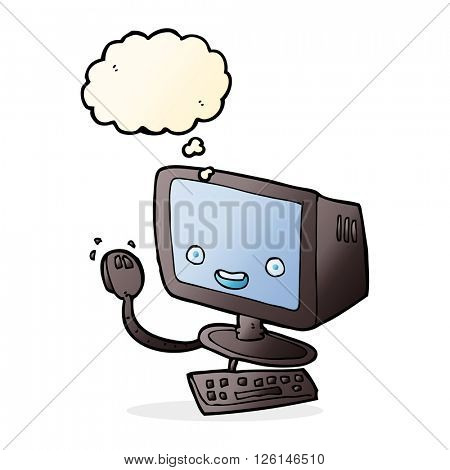 cartoon computer with thought bubble