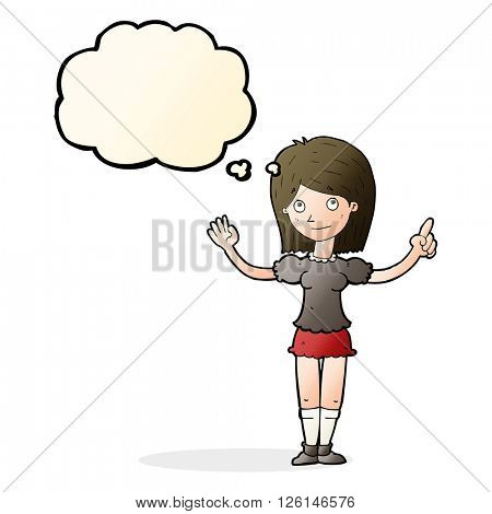 cartoon woman explaining idea with thought bubble