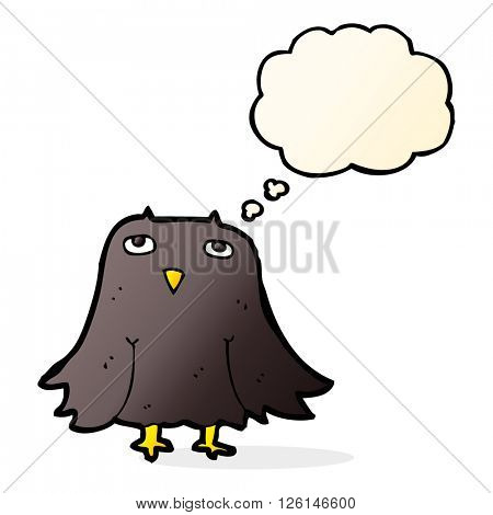 cartoon owl with thought bubble