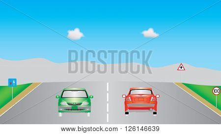 Cars on highway. Autobahn road, signs, cars and vehicles on highway. Motor vehicles driving on highway, vehicles on highway. Motor cars driving on the country road. EPS 10