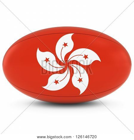 Hong Kong Rugby - Hong Kongese Flag On Rugby Ball On White