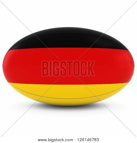 Germany Rugby - German Flag On Rugby Ball On White
