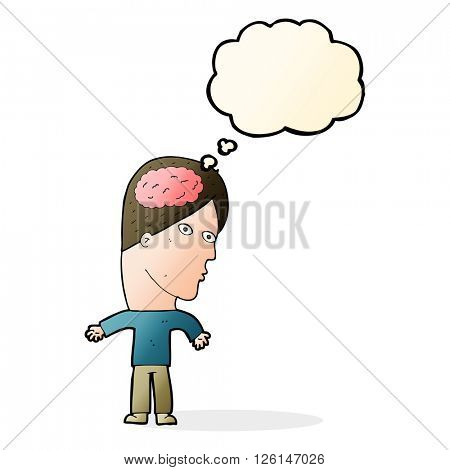 cartoon man with brain symbol with thought bubble