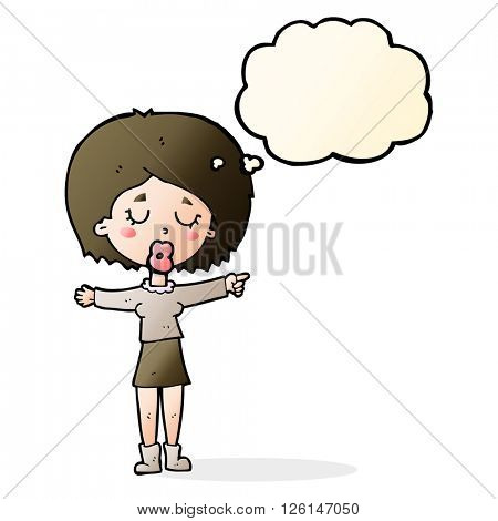 cartoon pointing woman with thought bubble
